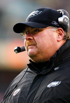 LANDOVER, MD - DECEMBER 21:  Head coach Andy Reid of the Philadelphia Eagles looks on against the Washington Redskins during the game on December 21, 2008 at FedEx Field in Landover, Maryland.  (Photo by Kevin C. Cox/Getty Images)