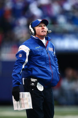 EAST RUTHERFORD, NJ -  JANUARY 11:  Head Coach Tom Coughlin of the New York Giants looks on against the Philadelphia Eagles during the NFC Divisional Playoff Game on January 11, 2009 at Giants Stadium in East Rutherford, New Jersey.  The Eagles defeated t