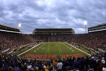 OXFORD, MS - NOVEMBER 17: An overall view of the stadium during a game against the LSU Tigers and Mississippi Rebels on November 17, 2007 at Vaught-Hemingway Stadium/Hollingsworth Field in Oxford, Mississippi. LSU beat Mississippi 41-24. (Photo by Joe Mur