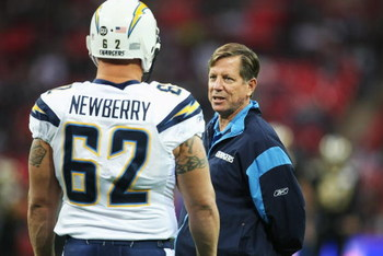 LONDON - OCTOBER 26: San Diego Chargers Head Coach Norv Turner talks to Jeremy Newberry during the Bridgestone International Series NFL match between San Diego Chargers and New Orleans Saints at Wembley Stadium on October 26, 2008 in London, England.  (Ph