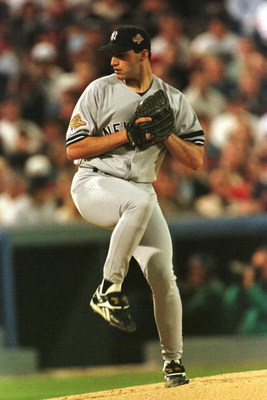 24 Oct 1996:  Pitcher Andy Pettitte of the New York Yankees delivers a pitch during the Yankees versus the Atlanta Braves in game five of the World Series at Fulton County Stadium in Atlanta, Georgia.  Mandatory Credit: Doug Pensinger/Allsport