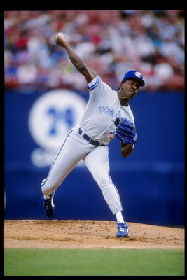 10 May 1992:  Pitcher Juan Guzman of the Toronto Blue Jays throws a pitch during a game against the California Angels at Anaheim Stadium in Anaheim, California.  Mandatory Credit: Stephen Dunn  /Allsport