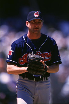 10 Aug 1996:  Pitcher Charles Nagy of the Cleveland Indians looks to receives the signs during the Indians 5-1 loss to the Oakland Athletics at Oakland Coliseum in Oakland, California. Mandatory Credit: Otto Greule/ALLSPORT