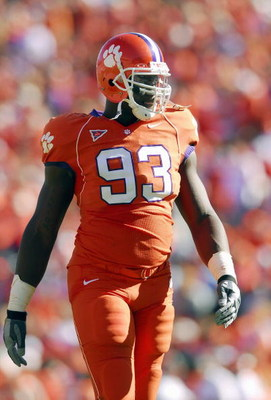 CLEMSON, SC - NOVEMBER 25: Gaines Adams #93 of the Clemson Tigers walks on the field during the game against the South Carolina Gamecocks at Memorial Stadium on November 25, 2006 in Clemson, South Carolina. South Carolina won 31-28. (Photo by Grant Halver