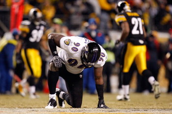 PITTSBURGH - JANUARY 18:  Trevor Pryce #90 of the Baltimore Ravens picks himself up off the field against the Pittsburgh Steelers during the AFC Championship game on January 18, 2009 at Heinz Field in Pittsburgh, Pennsylvania.  (Photo by Streeter Lecka/Ge