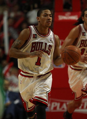 CHICAGO - APRIL 30: Derrick Rose #1 of the Chicago Bulls brings the ball upcourt against the Boston Celtics in Game Six of the Eastern Conference Quarterfinals during the 2009 NBA Playoffs at the United Center on April 30, 2009 in Chicago, Illinois. The B