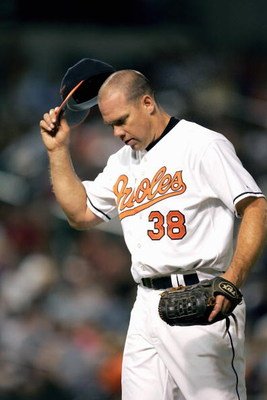 BALTIMORE, MD - AUGUST 9:  Jason Grimsley #38 of the Baltimore Orioles pitches during the game with the Tampa Bay Devil Rays on August 9, 2005 at Camden Yards in Baltimore, Maryland.  (Photo By Jamie Squire/Getty Images)