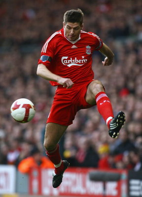 LIVERPOOL, UNITED KINGDOM - MARCH 22:  Steven Gerrard of Liverpool in action during the Barclays Premier League match between Liverpool and Aston Villa at Anfield on March 22, 2009 in Liverpool, England.  (Photo by Alex Livesey/Getty Images)