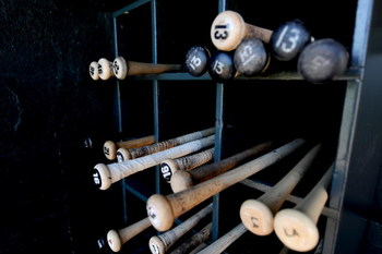 FORT LAUDERDALE, FL - MARCH 2: Bats are shown in the dugout before a spring training game between the Boston Red Sox and the Baltimore Orioles at Fort Lauderdale Stadium on March 2, 2009 in Fort Lauderdale, Florida. (Photo by Rob Tringali/Getty Images)