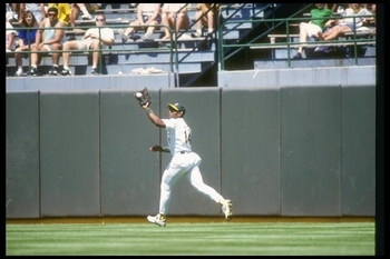 1990:  Outfielder Felix Jose of the Oakland Athletics makes a play during a game at the Oakland Coliseum in Oakland, California.  Mandatory Credit: Otto Greule  /Allsport