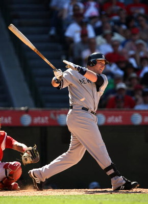 ANAHEIM, CA - JULY 11:  Eric Hinske #14 of the New York Yankees bats against the Los Angeles Angels of Anaheim in the seventh inning on July 11, 2009 at Angel Stadium in Anaheim, California.  The Angels won 12-8.  (Photo by Stephen Dunn/Getty Images)