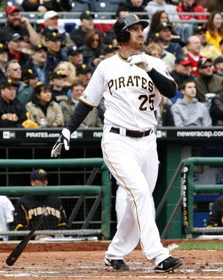 PITTSBURGH - APRIL 13:  Adam LaRoche #25 of the Pittsburgh Pirates watches a third inning home run while playing the Houston Astros during the Pirates Home Opener at PNC Park April 13, 2009 in Pittsburgh, Pennsylvania.  (Photo by Gregory Shamus/Getty Imag