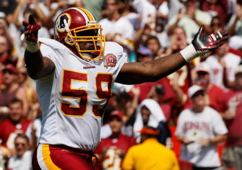 WASHINGTON - SEPTEMBER 09: Linebacker London Fletcher #59 of the Washington Redskins celebrates after a key play in second quarter action against the Miami Dolphins at FedEx Field September 9, 2007 in Landover, Maryland. The Redskins defeated the Miami Do