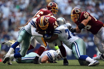 IRVING, TX - SEPTEMBER 28:  Running back Ladell Betts #46 of the Washington Redskins is tackled by Stephen Bowen #72 of the Dallas Cowboys at Texas Stadium on September 28, 2008 in Irving, Texas.  (Photo by Ronald Martinez/Getty Images)