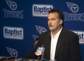 NASHVILLE, TN - JULY 6: Tennessee Titans Coach Jeff Fisher speaks at a press conference in reaction to the death of former Titan star quarterback Steve McNair July 6, 2009 in Nashville, Tennessee.  McNair was found shot to death in a Nashville condominium