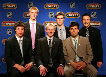 DETROIT - MAY 26:  (Top L-R) Tyler Myers, Alex Pietrangelo, Luke Schenn (Bottom L-R) Zach Bogosian, Steven Stamkos, Drew Doughty pose together during the 2008 NHL Entry Draft Top Prospects Media Luncheon as part of 2008 NHL Stanley Cup Finals in Ambassado