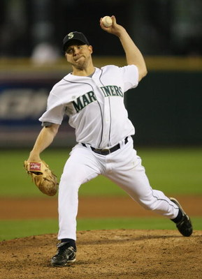SEATTLE - SEPTEMBER 16:  Starting pitcher Jarrod Washburn #56 of the Seattle Mariners pitches against the Tampa Bay Devil Rays on September 16, 2007 at Safeco Field in Seattle, Washington. The Devil Rays defeated the Mariners 9-2.  (Photo by Otto Greule J