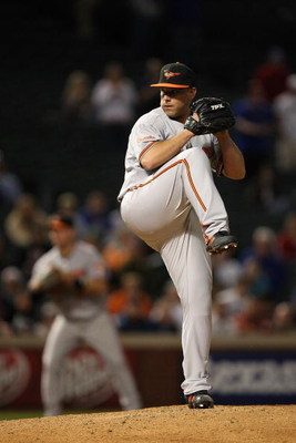 ARLINGTON, TX - APRIL 13:  Closer  George Sherrill #52 of the Baltimore Orioles throws against the Texas Rangers in the 9th inning on April 13, 2009 at Rangers Ballpark in Arlington, Texas.  (Photo by Ronald Martinez/Getty Images)