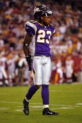LANDOVER, MD - SEPTEMBER 11:  Cedric Griffen #23 of the Minnesota Vikings stands on the field while playing the Washington Redskins during the first Monday Night Football game of the season on September 11, 2006 at FedEx Field in Landover, Maryland.  (Pho