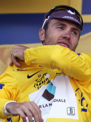 ANDORRA, SPAIN - JULY 10:  Rinaldo Nocentini of Italy and AG2R La Mondiale took the yellow jersey after stage seven of the 2009 Tour de France from Barcelona to Andorra, on July 10, 2009 in Andorra.  (Photo by Bryn Lennon/Getty Images)
