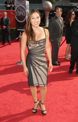 LOS ANGELES, CA - JULY 16:  Olympic figure skater Michelle Kwan arrives at the 2008 ESPY Awards held at NOKIA Theatre L.A. LIVE on July 16, 2008 in Los Angeles, California.  The 2008 ESPYs will air on Sunday, July 20 at 9PM ET on ESPN.  (Photo by Stephen