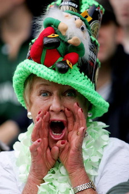 READING, ENGLAND - SEPTEMBER 24:  A London Irish supporter shouts for her team during the Guinness Premiership match between London Irish and Bristol at The Madejeski Stadium on September 24, 2005 in Reading, London, England.  (Photo by Jamie McDonald/Get