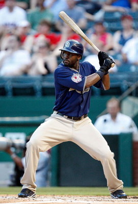ARLINGTON, TX - JUNE 28:  Tony Gwynn, Jr. #18 of the San Diego Padres on June 28, 2009 at Rangers Ballpark in Arlington, Texas.  (Photo by Ronald Martinez/Getty Images)