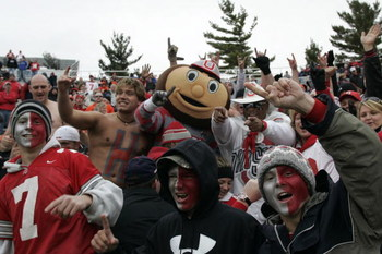 CHAMPAIGN, IL - NOVEMBER 4:  Brutus, The Ohio State Buckeyes mascot is in the stands to celebrate with fans during the game between the Ohio State Buckeyes against the Illinois Fighting Illini at Memorial Stadium November 4, 2006 in Champaign, Illinois.