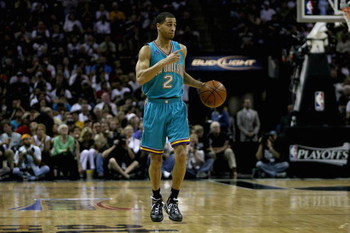SAN ANTONIO - MAY 11:  Jannero Pargo #2 of the New Orleans Hornets brings the ball upcourt in the game against the San Antonio Spurs in Game Four of the Western Conference Semifinals during the 2008 NBA Playoffs on May 11, 2008 at the AT&T Center in San A