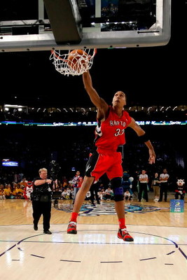 NEW ORLEANS - FEBRUARY 16:  Jamario Moon of the Toronto Raptors completes a dunk in the Sprite Slam Dunk Contest, part of 2008 NBA All-Star Weekend at the New Orleans Arena on February 16, 2008 in New Orleans, Louisiana.  NOTE TO USER: User expressly ackn
