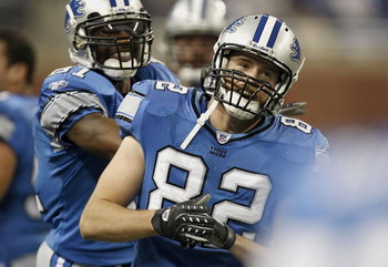 DETROIT , MI - DECEMBER 23:  Casey FitzSimmons #82 of the Detroit Lions celebrates with Calvin Johnson #81 after blocking a first quarter put against the Kansas City Chiefs on December 23, 2007 at Ford Field in Detroit, Michigan. Detroit won the game 25-2