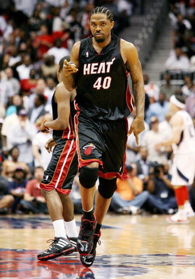 ATLANTA - APRIL 22:  Udonis Haslem #40 of the Miami Heat celebrates after hitting a basket late in the game against the Atlanta Hawks during Game Two of the Eastern Conference Quarterfinals at Philips Arena on April 22, 2009 in Atlanta, Georgia. The Heat