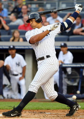 NEW YORK - JULY 20:  Alex Rodriguez #13 of the New York Yankees bats against the Baltimore Orioles on July 20, 2009 at Yankee Stadium in the Bronx borough of New York City.  (Photo by Jim McIsaac/Getty Images)
