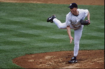 14 Jun 1998: David Cone #36 of the New York Yankees in action during a game against the Cleveland Indians at Yankee Stadium in the Bronx, New York. The Yankees defeated the Indians 4-2.