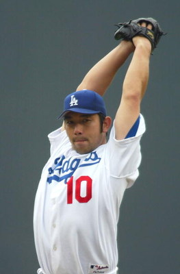 LOS ANGELES - JUNE 19:  Starting pitcher Hideo Nomo #10 of the Los Angeles Dodgers pitches against the New York Yankees during the second inning on June 19, 2004 at Dodger Stadium in Los Angeles, California. The Yankees beat the Dodgers 6-2.  (Photo by Li