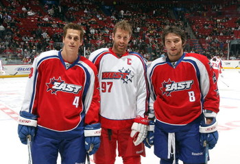 MONTREAL - JANUARY 25:  (L-R) Vincent Lecavalier #4 of the Eastern Conference All-Stars, Joe Thornton #97 of the Western Conference All-Stars and Alexander Ovechkin #8 of the Eastern Conference All-Stars pose for a photo prior to the 2009 NHL All-Star gam
