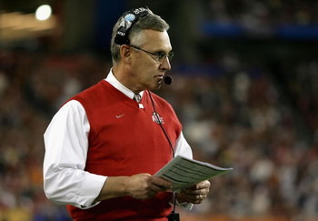 GLENDALE, AZ - JANUARY 05:  Head coach Jim Tressel of the Ohio State Buckeyes looks on during the Tostitos Fiesta Bowl Game against the Texas Longhorns on January 5, 2009 at University of Phoenix Stadium in Glendale, Arizona.  (Photo by Doug Pensinger/Get
