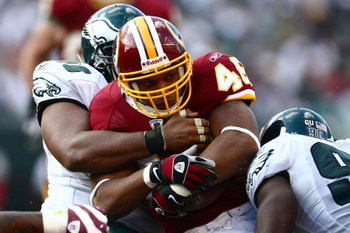 PHILADELPHIA - OCTOBER 05: Ladell Betts #46 of the Washington Redskins is tackled by Mike Patterson #98 of the Philadelphia Eagles on October 5, 2008 at Lincoln Financial Field in Philadelphia, Pennsylvania.  (Photo by Chris McGrath/Getty Images)