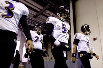 PITTSBURGH - JANUARY 18:  Joe Flacco #5 of the Baltimore Ravenswalks down the tunnel towards the field to take on the Pittsburgh Steelers during the AFC Championship game on January 18, 2009 at Heinz Field in Pittsburgh, Pennsylvania.  (Photo by Streeter