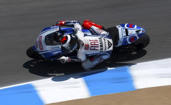 MONTEREY, CA - JULY 4:  Jorge Lorenzo of Spain rides the #99 Fiat Yamaha during qualifying for the Moto GP Red Bull U. S. Grand Prix at the Mazda Raceway Laguna Seca on July 4, 2009 in Monterey, California.  (Photo by Robert Laberge/Getty Images)