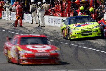 INDIANAPOLIS - JULY 26:  Juan Pablo Montoya, driver of the #42 Target Chevrolet, is caught for speeding down pit road during the NASCAR Sprint Cup Series Allstate 400 at the Brickyard at Indianapolis Motor Speedway on July 26, 2009 in Indianapolis, Indian