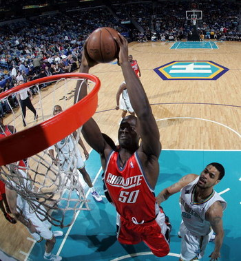 NEW ORLEANS - JANUARY 18:  Emeka Okafor #50 of the Charlotte Bobcats dunks the ball against the New Orleans Hornets at the New Orleans Arena January 18, 2008 in New Orleans, Louisiana. The Hornets defeated the Bobcats 112-84. NOTE TO USER: User expressly