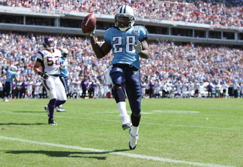 NASHVILLE, TN - SEPTEMBER 28:  Running back Chris Johnson #28 of the Tennessee Titans celebrates as he scores a touchdown against the Minnesota Vikings at LP Field on September 28, 2008 in Nashville, Tennessee.  (Photo by Doug Benc/Getty Images)