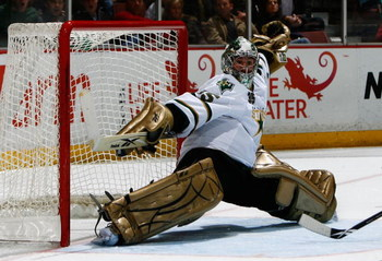 ANAHEIM, CA - APRIL 10:  Marty Turco #35 of the Dallas Stars makes a save against the Anaheim Ducks at the Honda Center on April 10, 2009 in Anaheim, California. The Ducks defeated the Stars 4-3 in a shootout.  (Photo by Jeff Gross/Getty Images)