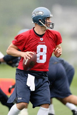 RENTON, WA - MAY 2:  Matt Hasselbeck #8 of the Seattle Seahawks works out during minicamp at the Seahawks training facility on May 2, 2009 in Renton, Washington. (Photo by Otto Greule Jr/Getty Images)