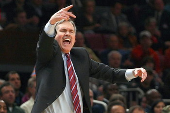 NEW YORK - FEBRUARY 17:  Head coach Mike D'Antoni of the New York Knicks yells during the game against the San Antonio Spurs at Madison Square Garden on February 17, 2009 in New York City. NOTE TO USER: User expressly acknowledges and agrees that, by down