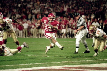 3 Jan 2001: Quentin Griffin #22 of the Oklahoma Sooners carries the ball in for a touchdown during the Orange Bowl Game against the  Florida State Seminoles at the Pro Players Stadium in Miami, Florida.  The Sooners defeated the Seminoles 13-2. Mandatory