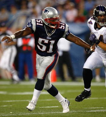 FOXBORO, MA - AUGUST 7: Jerod Mayo #51 of the New England Patriots defends against the Baltimore Ravens during the preseason game at Gillette Stadium on August 7, 2008 in Foxboro, Massachusetts. (Photo by Jim Rogash/Getty Images)