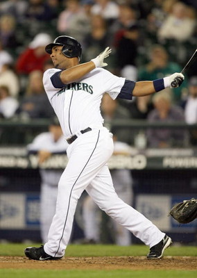 SEATTLE - SEPTEMBER 16: Wladimir Balentien #50of the Seattle Mariners swings at the pitch against the Tampa Bay Devil Rays on September 16, 2007 at Safeco Field in Seattle, Washington. The Devil Rays defeated the Mariners 9-2. (Photo by Otto Greule Jr/Get