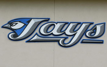 DUNEDIN, FL- MARCH 1:  A general view of the new Toronto Blue Jays logo taken during Photo Day at their spring training facility on March 1, 2004 in Duneiden, Florida . (Photo by Jed Jacobsohn/Getty Images)